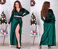 шикарное бархатное платье в пол больших размеров с красивым декольте
