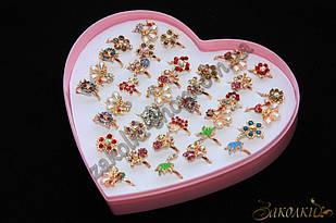 Кільця під золото, пластикова коробочка у вигляді серця, безрозмірні(роз'ємні), 36 штук в коробці