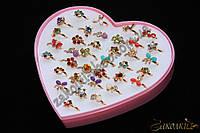Кольца под золото, пластиковая коробочка в виде сердца, безразмерные(разъемные), 36 штук в коробке