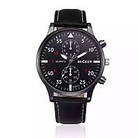 Часы мужские наручные кварцевые с черным ремешком и чёрным циферблатом