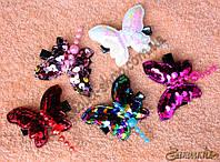 Заколка-уточка пайетки,форма: бабочка, 10 штук в упаковке