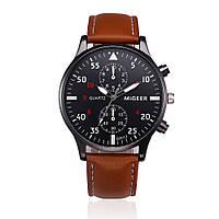 Часы мужские наручные кварцевые с коричневым ремешком и черным циферблатом