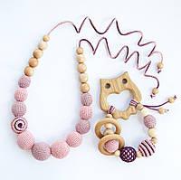 """Подарочный набор для мамы и малыша: слингобусы и грызунок Ярмирина """"Медена Совушка"""" можжевельник и дуб"""
