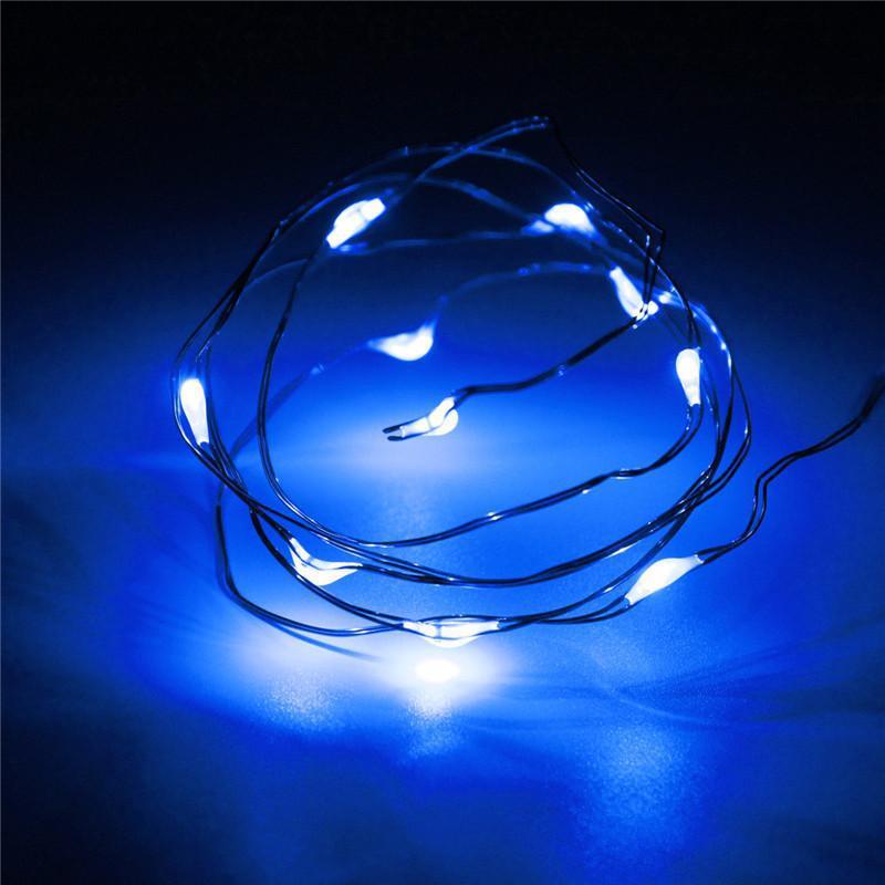 Светодиодная гирлянда нить 1м 10led на батарейках голубая Blue
