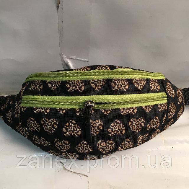 Бананка женская с принтом 2 отделения   (Поясная сумка, Сумка на пояс, сумка на плечо)  Zanex