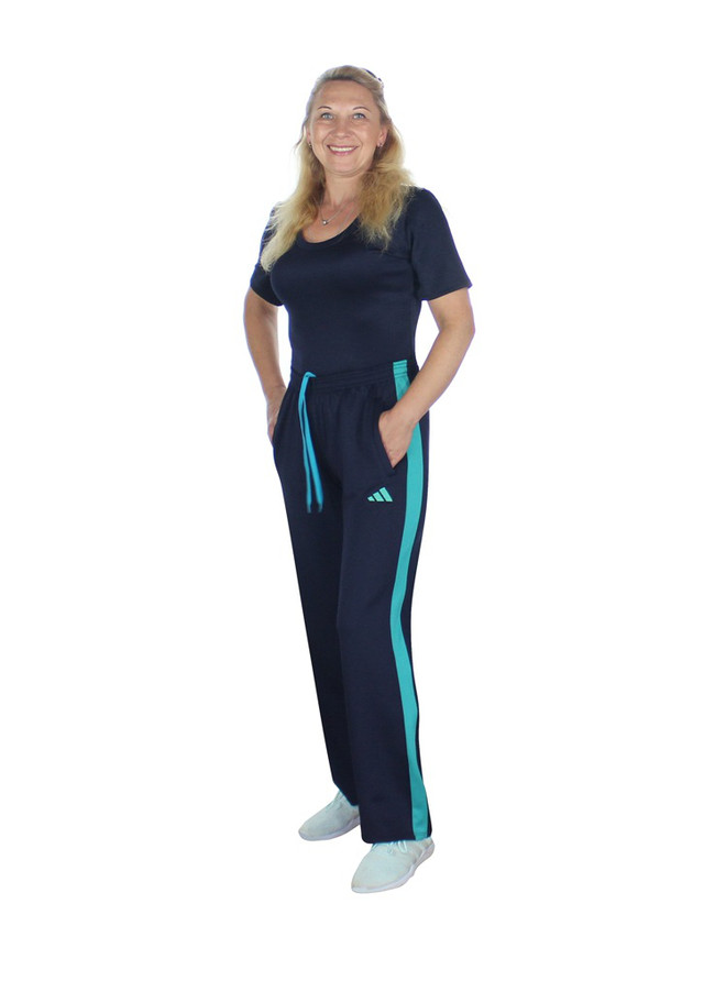 женские спортивные брюки с мятными лампасами