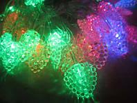 Разноцветная led-гирлянда леденцы, электрическая, новогодняя, 40 светодиодов, прозрачный пвх провод, 220в