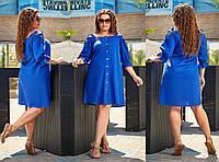 Стильное льняное платье - рубашка с открытыми плечами большого размера до 56-го