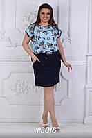 Летнее красивое платье  до колен большого размера до 54-го
