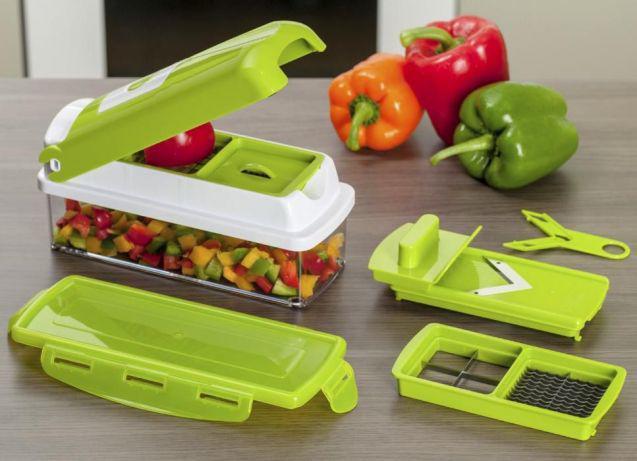 Компактная овощерезка Nicer Dicer Plus Найсер Дайсер Плюс с 14 предметами для нарезки продуктов шинковка терка