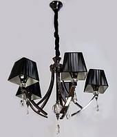 Современная люстра выполненая в цСовременная люстра выполненая в цвете черный хромвете черный хром с абажурами, фото 1