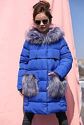 Зимнее пальто с мехом на карманах на девочку Полианна нью вери (Nui Very)