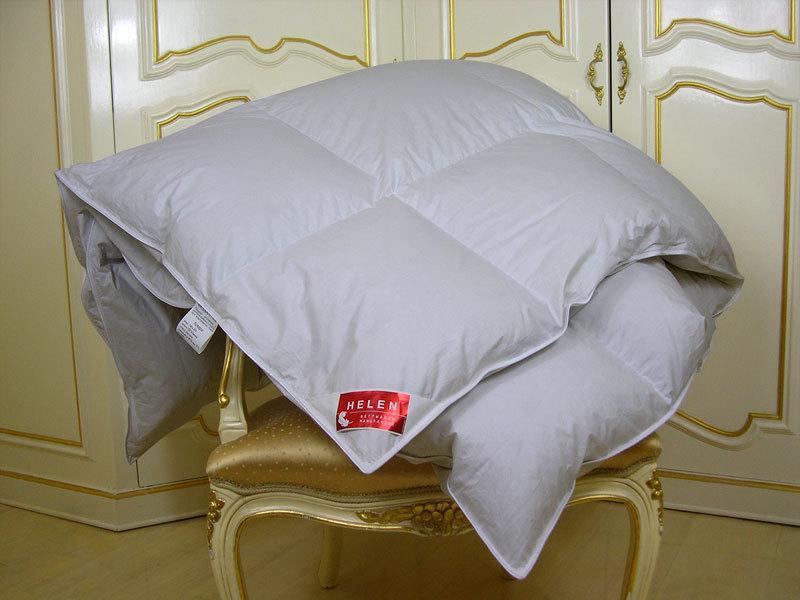 Одеяло пуховое HELEN 172×205 см кассетное ( белый пух 100% ) 1000г зимнее+ серое