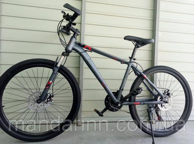 Спортивный велосипед TopRider-G35 26 дюймов. Дисковые тормоза. Серо-Красный.