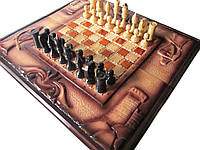 """Сувенирные шахматы, нарды, шашки,3 в 1 """"Рыцари"""""""