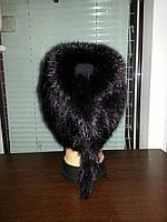 Меховая шапка  из  чёрной норки  на вязанной  основе