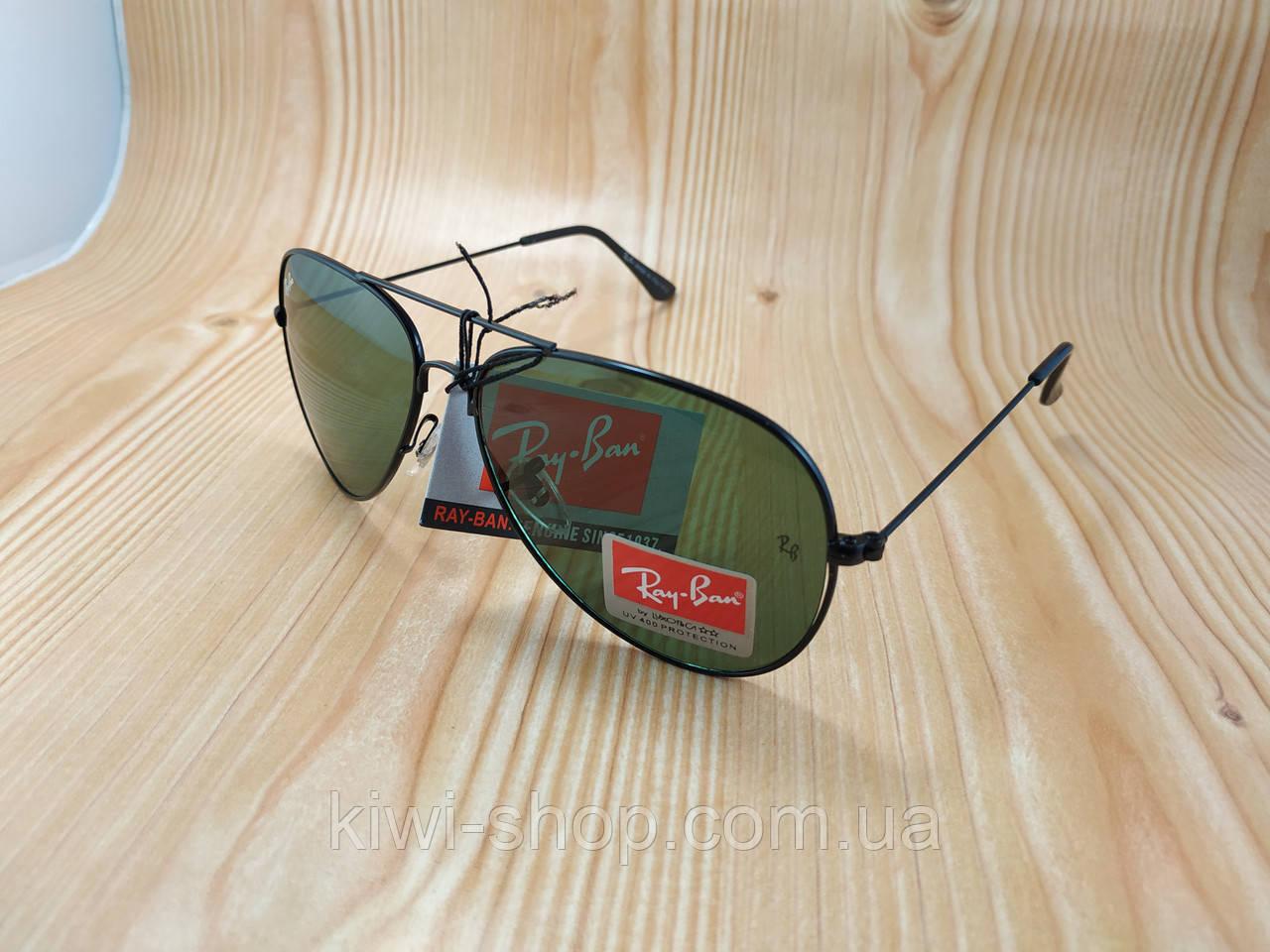 ffd102e8e8b4 Солнцезащитные очки Ray Ban AVIATOR капельки черные (стеклянные линзы) - Интернет  магазин