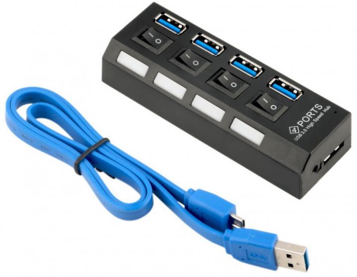 Хаб USB 3.0, 4 порта, с переключателями поддержка до 1TB