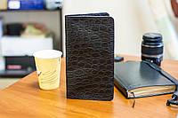 Мужской кошелек портмоне из натуральной кожи ручной работы под крокодил для денег и телефона