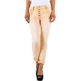 Женские мятые джинсы на пуговицах от Mozzaar (Европа) Персиковый