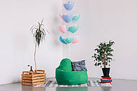 Зеленое кресло-мешок груша 100*75 см из микро-рогожки