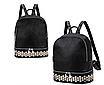 Рюкзак женский кожзам с заклепками однотонный Черный, фото 2