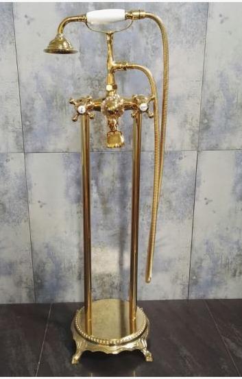Стойка напольная со смесителем в цвете золота 8-007