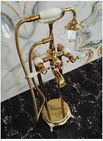 Стойка напольная в цвете золота с элементами керамики 8-009