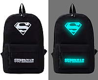 Рюкзак городской светящийся в темноте Черный Superman