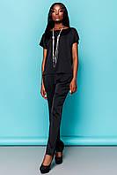 796e0e67a79 Легкий Брючный Костюм на Лето Блуза с Баской Черный S-XL