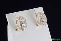 Элитные позолоченные серьги с кристаллами
