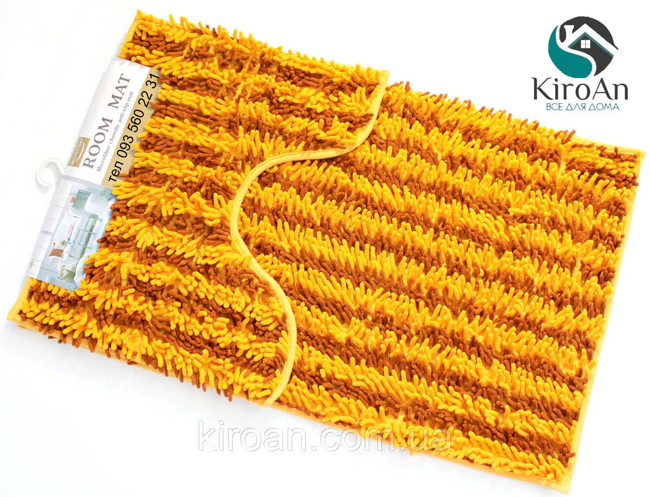 Набор из 2-х ковриков из микрофибры (Лапша оранжевая полоска) 80*50 см и 40*50 см (с вырезом)