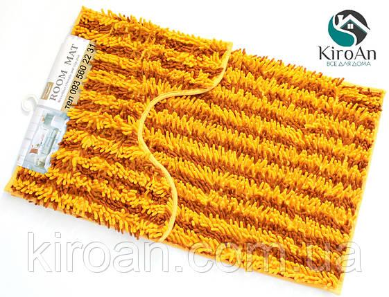 Набор из 2-х ковриков из микрофибры (Лапша оранжевая полоска) 80*50 см и 40*50 см (с вырезом), фото 2