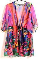 Яркая шифоновая женская туника с цветочным принтом