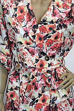 Жіночий плащ тренчкот з квітами, фото 2
