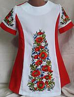 """Детское платье красного цвета с вышивкой """" Луговые цветы""""."""