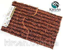 Набор из 2-х ковриков из микрофибры (Лапша коричневая полоска) 80*50 см и 40*50 см (с вырезом)