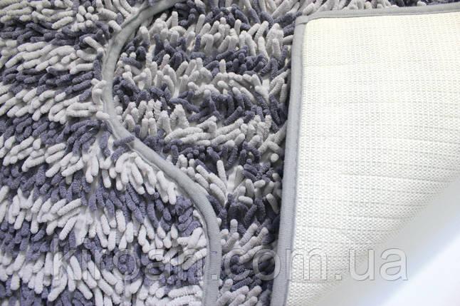Набор из 2-х ковриков из микрофибры (Лапша серая полоска) 80*50 см и 40*50 см (с вырезом), фото 2