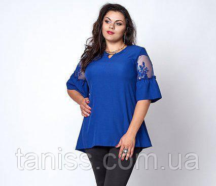 Нарядна блузка з крепу великого розміру, рукава з гіпюром р. 52,54,56 електрик (711)