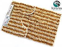 Набор из 2-х ковриков из микрофибры (Лапша бежевая полоска) 80*50 см и 40*50 см (с вырезом), фото 1