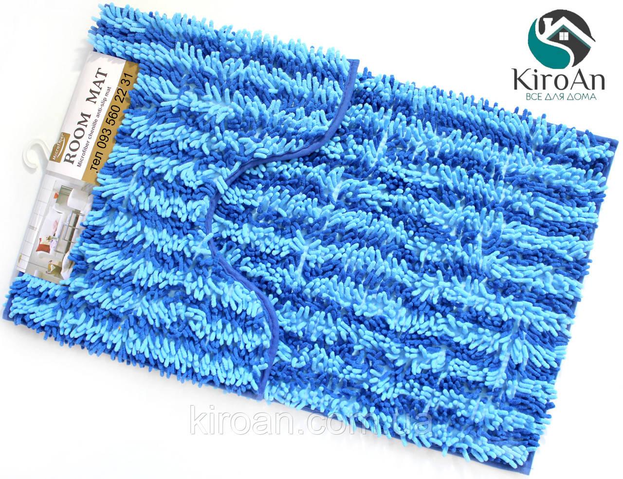 Набор из 2-х ковриков из микрофибры (Лапша синяя полоска) 80*50 см и 40*50 см (с вырезом)