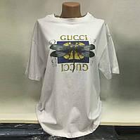 Женская свободная футболка в стиле Gucci со Стрекозой белая , фото 1