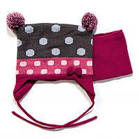 Зимний комплект: шапочка + манишка для девочек (Р.: 0/6М, 6/12М, 12/24М, 2/3) ТМ Peluche&Tartine F17 ACC 08 BF