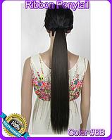 Шиньон хвост на ленте, прямые волосы, наращивание волос, длина - 55 см, вес - 90 г, цвет - №6В