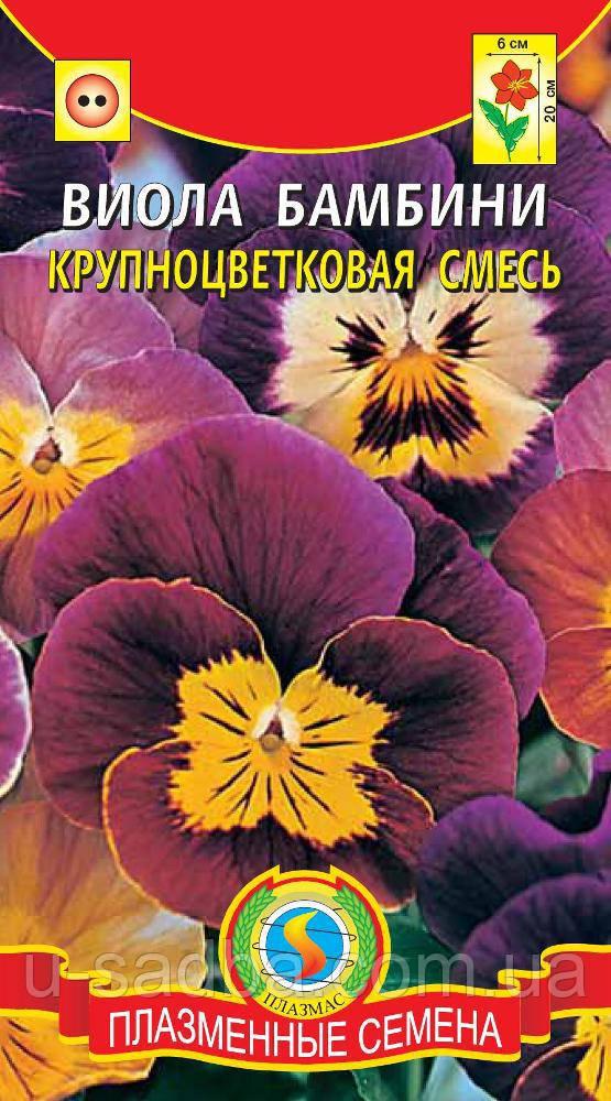 Семена цветов  Виола Бамбини крупноцветковая смесь 0,1 г смесь (Плазменные семена)