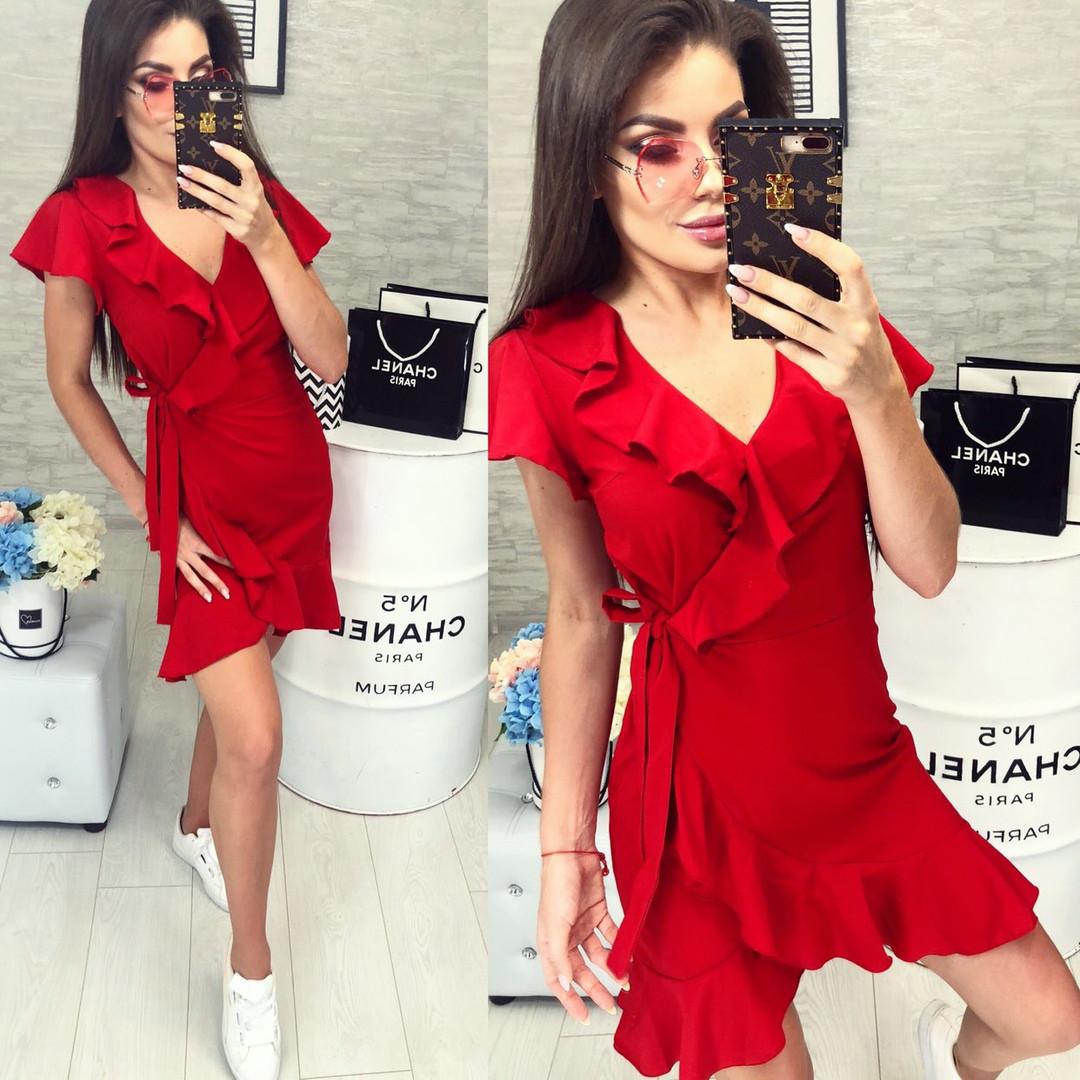 68846d6b206 Летнее женское платье на запах с воланами красное -