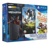 Игровая консоль SONY PlayStation 4 Slim 1TB + 3 игры (Horizon Zero Dawn, Uncharted потерянное наследство, Little Big Planet 3)