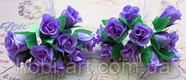 Троянди з тканини (пучок 9-10шт)  лілові