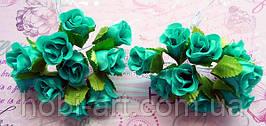 Троянди з тканини (пучок 9-10шт)  бірюза