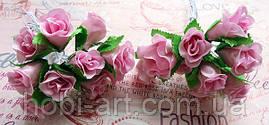 Троянди з тканини (пучок 9-10шт)  світло-рожеві